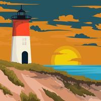 Ein Leuchtturm in der Bucht mit Meerblick vektor
