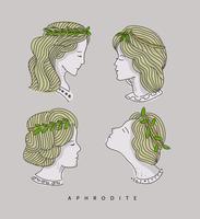 aphrodite huvud handritad vektor illustration
