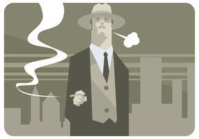 Man Med Hat Och Cigar Vector