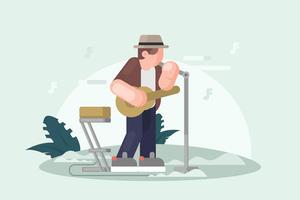 Musiker i Panama Hat Illustration vektor