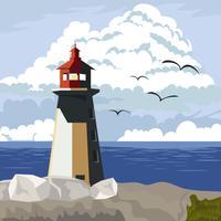 Leuchtturm in der Bucht mit Meerblick vektor