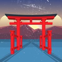 flytande grind av itsukushima helgedom vektor