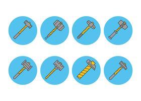 Sledgehammer linjär ikonuppsättning vektor