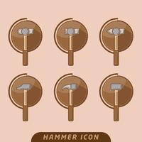 släde hammer ikon vektor pack