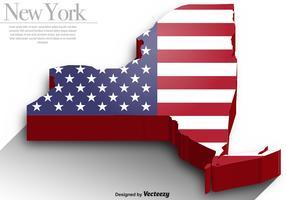 Vektor 3d Silhouette Of Map Of New York