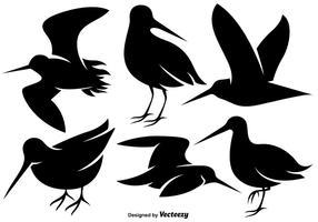 Vektor Snipe Vogel flache Ikonen