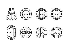 Schiffsfenster-Set-Symbole