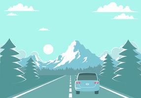 Autobahn zum freien Vektor der Berge