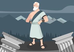 Sokrates-Cartoon-Charakter-Vektor-Illustration vektor