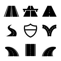 svart huvudväg ikon vektor