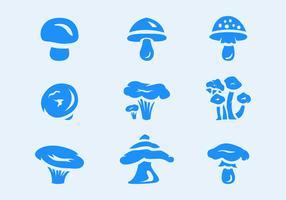 Sechs Pilze Vektor