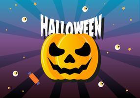 Gratis Flat Halloween Pumpkin Vector Illustration