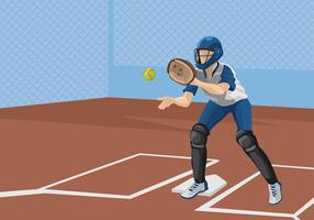 Softball Catcher Illustration Gratis Vector
