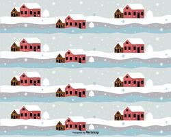 Tecknad hus i vinter vektor mönster
