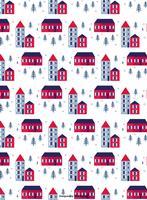 Winter Stadt Vektor Muster