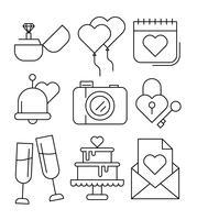 Gratis linjära bröllops ikoner vektor