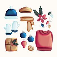 Vektor handgezeichnete Winter Essentials