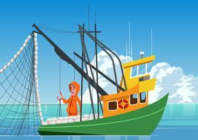 Fiske Trawler Båt vektor