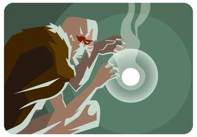 Gamla shamanen och ljusbollvektorn vektor