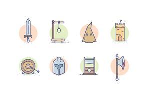 Mittelalterliche Königreich Icons vektor