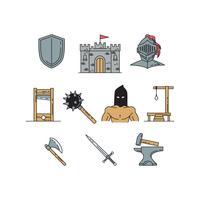 Kostenlose mittelalterliche Icons Set Vektor