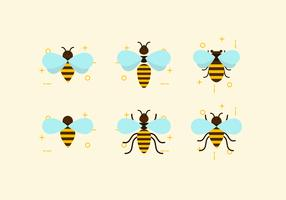 Flache Sechs Bienen Vektoren