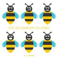 Söt Samling av Bee Emoticons