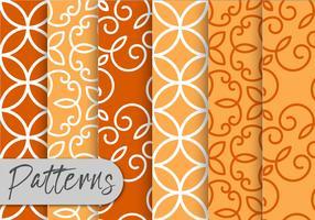 Orange Dekor Muster Set vektor