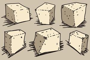 Vektor-Tofu-Käse-Karikatur-Art-Illustration