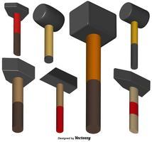 Ikonen des Vektor-Vorschlaghammer-3d