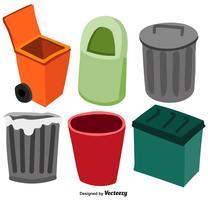Vektor Set Of Waste Basket Flat Ikoner