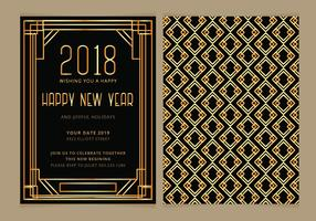 Vector Art Deco New Year Party Invitera