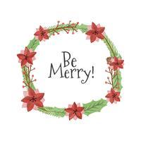 Netter Weihnachtskranz mit Zitat vektor