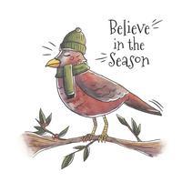 Weihnachtsvogel über Zweig mit Weihnachtszitat
