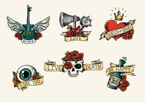 Old School Tattoo mit roten Rosen und Bändern des Schädels vektor