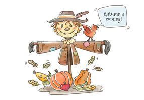 Gullig Scarecrow Karaktär Leende Vektor