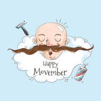 Netter Mann ohne Haar und langen Schnurrbart für Movember-Vektor vektor