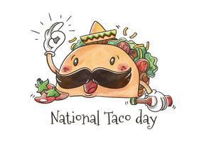 Gullig Taco Character med Jalapeños för National Taco Day