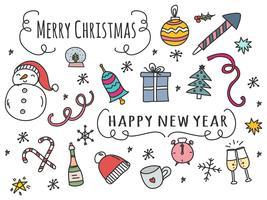 Doodle Holidays Ikoner Vector Set