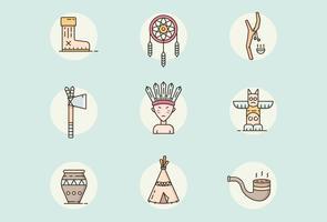 Indiska, indianska ikoner vektor