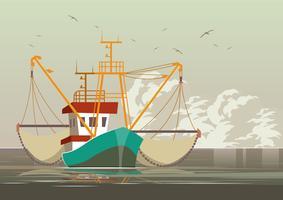 Krabben-Fischen-Schleppnetzfischer-Vektor