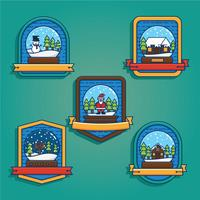 Snow Globe Badge Vector