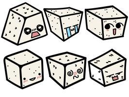 Vektor tecknad stil Tofu med söta ansikts set