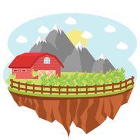 Bauernhof mit Mais pirscht sich Hintergrund an