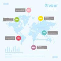 Infographic Vorlage für globale Karten vektor