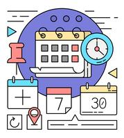 Lineare Kalender Icons vektor