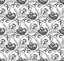 Schwarzweiss-Rosskastanien-Blätter und Nuss-Vektor-nahtloser Hintergrund vektor