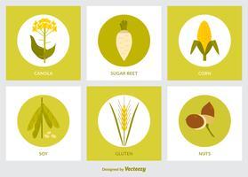 Platt GMO Produkt Ikon Vector Set