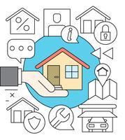 Kostenlose lineare Hausversicherungs-Sammlung vektor