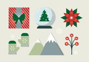 Kostenlose flache Design Vektor Weihnachten Elemente